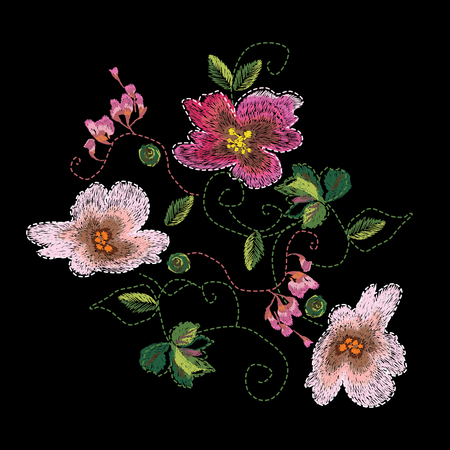 Colorful embroidery on a black background. A beautiful bouquet of roses for the design of clothes.