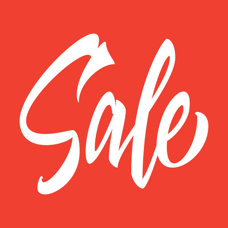 disposition: Sale hand inscription on a red background.