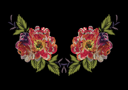 Colorful embroidery on a black background. A beautiful bouquet of roses for the design of clothes. Stock fotó - 78975068
