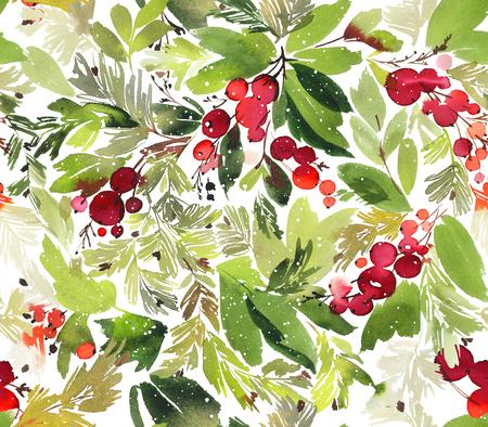 Naadloze aquarel Kerst patroon met bessen en vuren Stockfoto