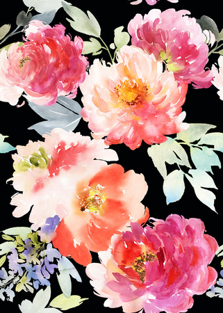 Seamless summer pattern with watercolor flowers handmade.
