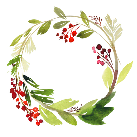 Christmas wreath with berries watercolor postcard.