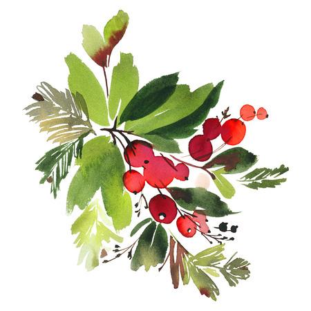 가문비 나무와 딸기 크리스마스 수채화 카드입니다.