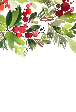 Natale con le bacche cartolina dell'acquerello. Archivio Fotografico - 87157928