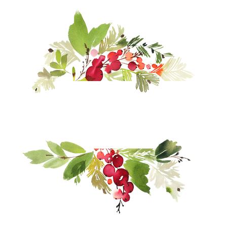 Kerst aquarel kaart met bessen en bloemen.
