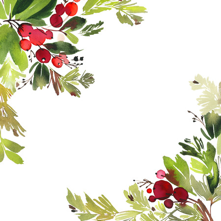 Christmas watercolor card with berries and flowers.