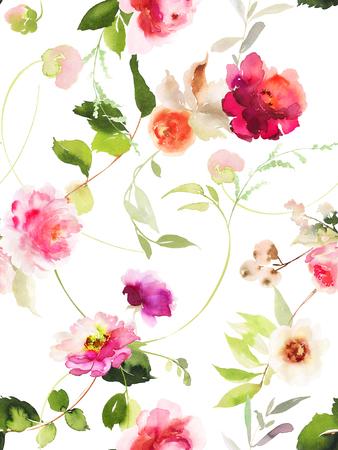Naadloos de zomerpatroon met met de hand gemaakte waterverfbloemen.