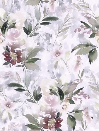 Modèle d'été sans couture avec des fleurs aquarelles à la main. Banque d'images