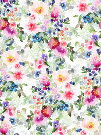 Patrón de verano sin fisuras con flores acuarelas hechas a mano. Foto de archivo