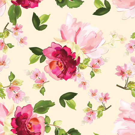 Vector seamless pattern with flower and plants in watercolor style. 向量圖像