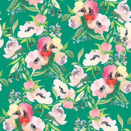 Seamless summer pattern with watercolor flowers handmade. Stock fotó - 130030549