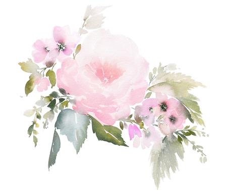 Ilustración floral acuarela sobre fondo blanco para invitaciones de boda, tarjetas.