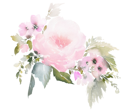 Watercolor floral illustration on white background for wedding invitations, cards.