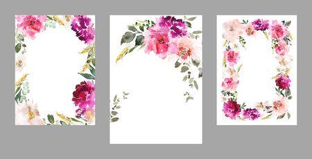 Ensemble de cartes à l'aquarelle pour les invitations de mariage. Banque d'images