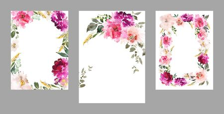 Set of watercolor cards for wedding invitations. Stock Photo