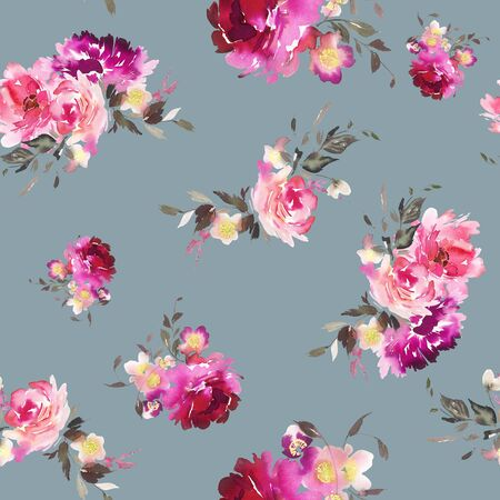 Seamless summer pattern with watercolor flowers handmade. Stock fotó - 130030557