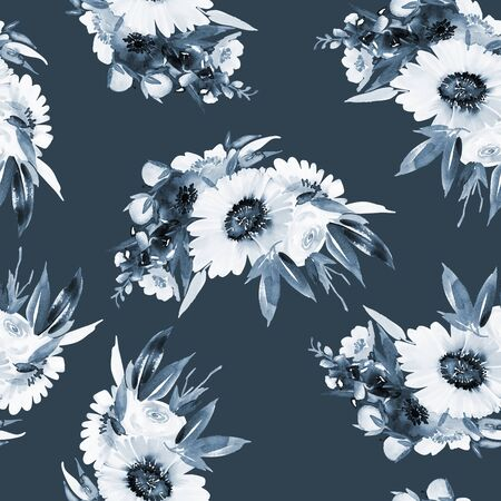 Seamless summer pattern with watercolor flowers handmade. Stock fotó - 130030561