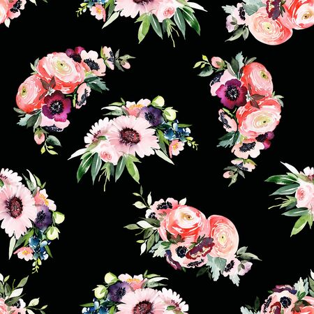 Seamless summer pattern with watercolor flowers handmade. Stock fotó - 130030584