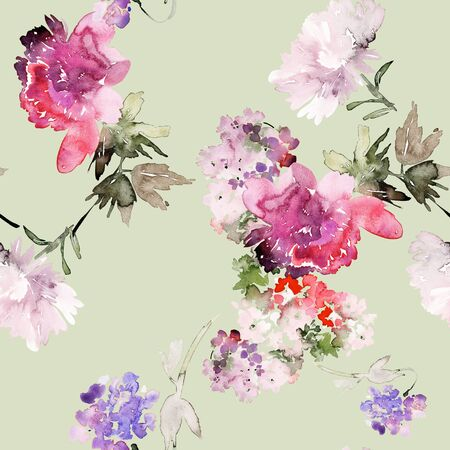 Seamless summer pattern with watercolor flowers handmade. Stock fotó - 130030589