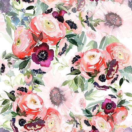 Seamless summer pattern with watercolor flowers handmade. Stock fotó - 130030612