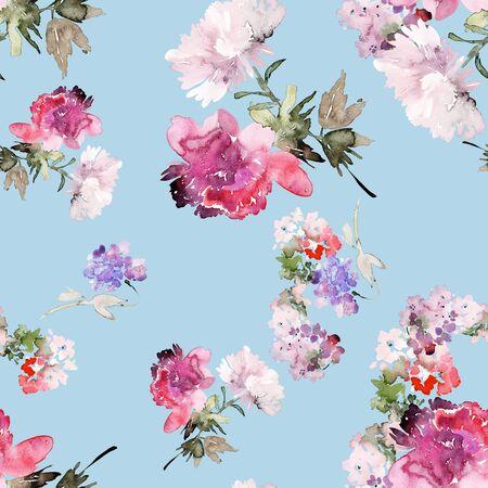 Seamless summer pattern with watercolor flowers handmade. Stock fotó - 130030754