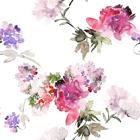 Seamless summer pattern with watercolor flowers handmade. Stock fotó - 130030760
