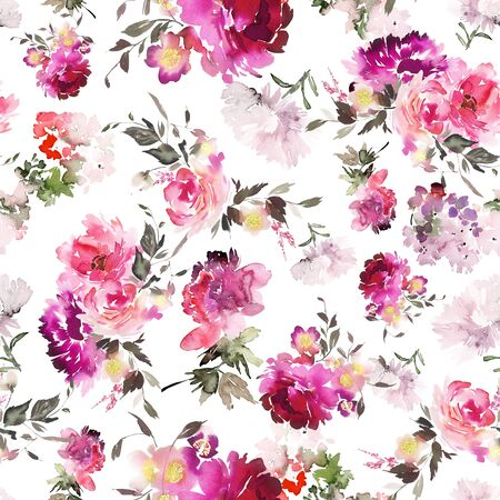Seamless summer pattern with watercolor flowers handmade. Stock fotó - 130030761