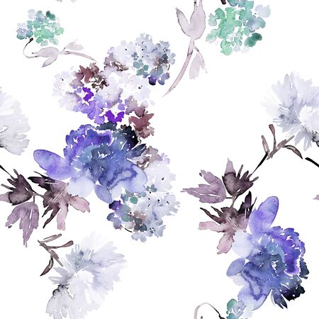 Seamless summer pattern with watercolor flowers handmade. Stock fotó - 130030955