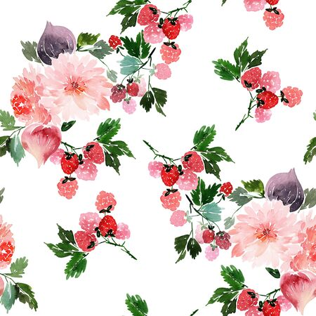 Patrón de verano sin fisuras con flores acuarelas, frambuesas, higos Foto de archivo