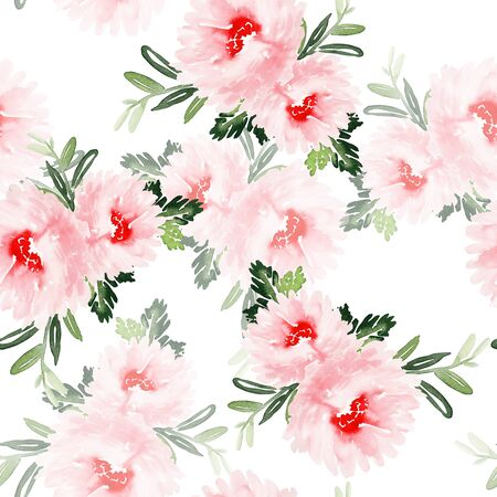 Seamless summer pattern with watercolor flowers handmade. Stock fotó - 130030980