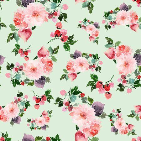 Motif d'été sans couture avec fleurs aquarelles, framboises, figues