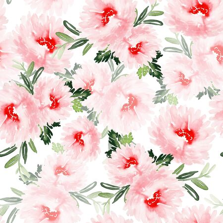 Seamless summer pattern with watercolor flowers handmade. Stock fotó - 130031167
