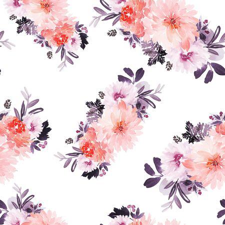 Seamless summer pattern with watercolor flowers handmade. Stock fotó - 130031185