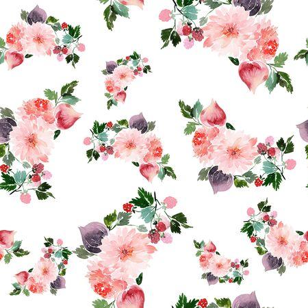 Motivo estivo senza cuciture con fiori ad acquerello, lamponi, fichi