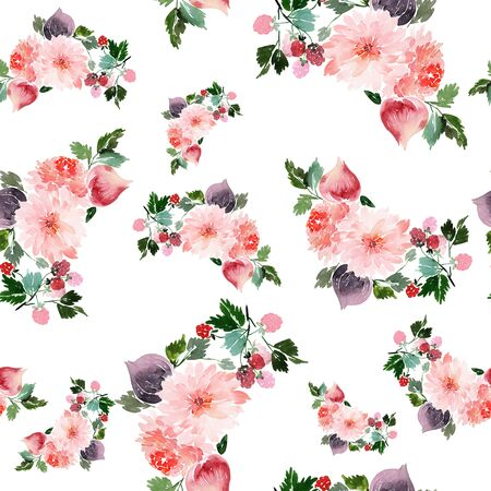 Seamless summer pattern with watercolor flowers, raspberries, figs Stock fotó - 130031209