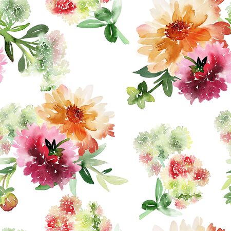 Seamless summer pattern with watercolor flowers handmade. Stock fotó - 130031934