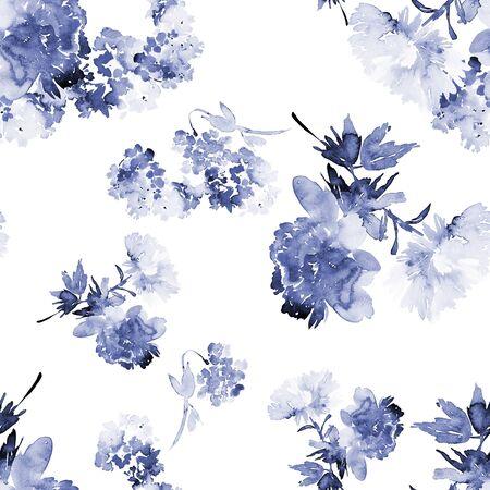 Seamless summer pattern with watercolor flowers handmade. Stock fotó - 130031941