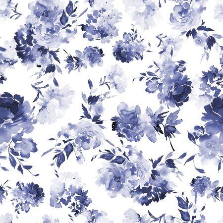 Patrón de verano sin fisuras con acuarelas flores hechas a mano. Foto de archivo