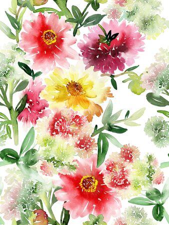 Patrón de verano sin fisuras con acuarelas flores hechas a mano.