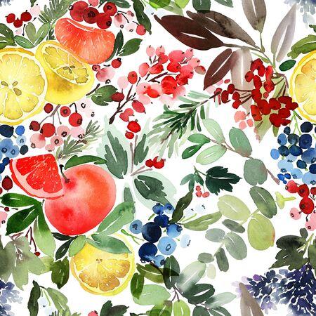 Acuarela de patrones sin fisuras con limones y naranjas, bayas. Composición de invierno para papel de regalo.