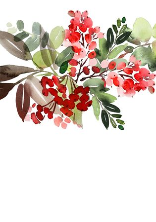 Christmas watercolor postcard. Stok Fotoğraf
