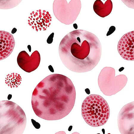 Abstract watercolor christmas seamless pattern with balls and hearts.