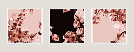 Set creative watercolor background with abstract flowers
