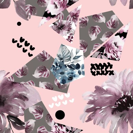 Abstract watercolor seamless pattern with geometric shapes and flowers in modern style. Stok Fotoğraf