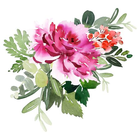 Greeting card with watercolor flowers handmade.