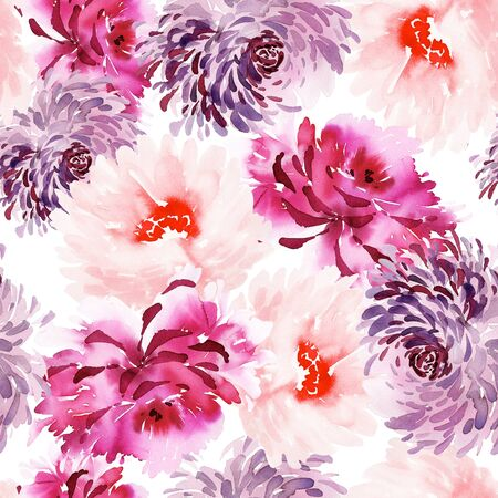 Silk scarf design with large flowers.