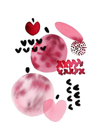 Abstract watercolor christmas card with balls and hearts in modern style