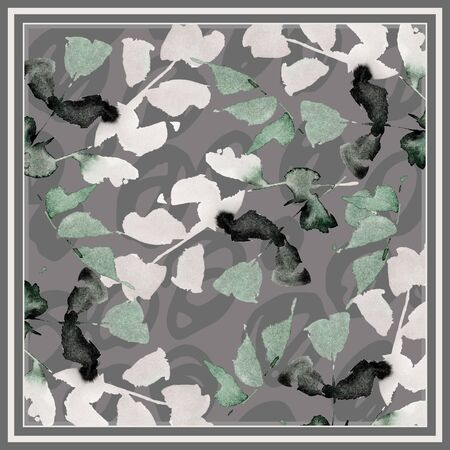 Silk scarf design in soft pastel colors. Composition for hijab.