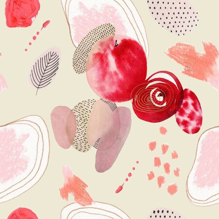 Abstract seamless pattern with watercolor spots. Handmade geometric shapes.