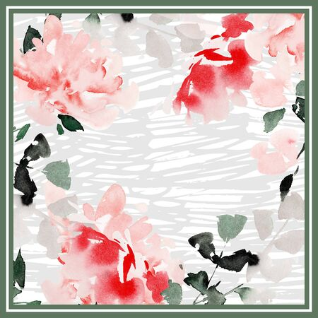 Silk scarf design in soft pastel colors. Watercolor abstract peonies. Composition for hijab. Stok Fotoğraf